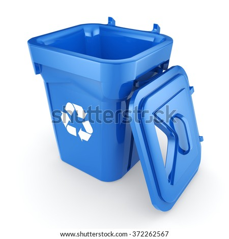 Blue Recycling Bin isolated on white background