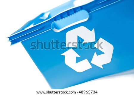 blue recycling box, container - stock photo