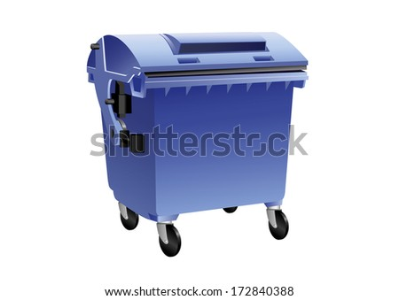 Blue recycling container for paper isolated
