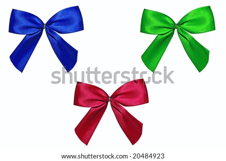 Blue, red and green bow isolated on a white background