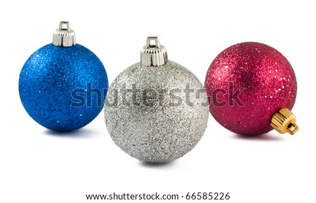 Blue, red and white Christmas baubles isolated on white background
