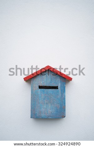 Blue red letter box - stock photo