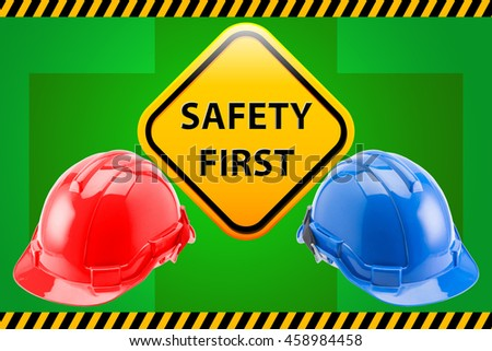 Blue / Red Safety Helmet Hat with SAFETY FIRST word sign - stock photo
