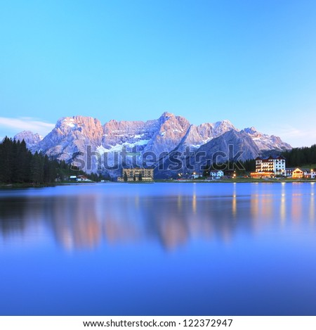 Blue reflection of lake Misurina, Italy