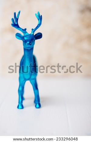 Blue Reindeer in front - stock photo
