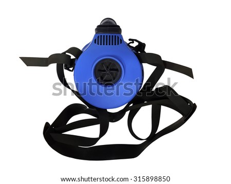 Blue respirator with straps isolated on white background - stock photo