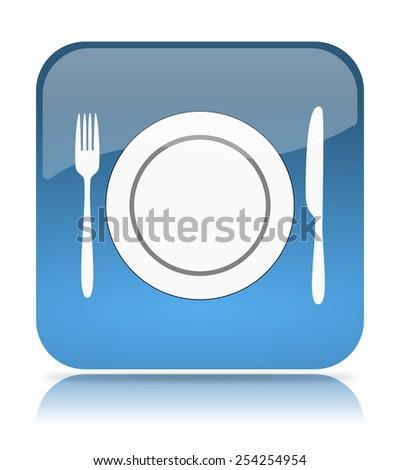 Blue Restaurant App Icon Illustration on White Background - stock photo