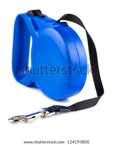Blue retractable leash for dog isolated on white background - stock photo