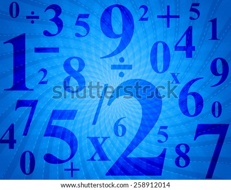 Blue retro background and numbers
