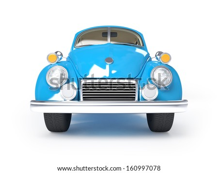 Blue retro car from forties on a white background. Front view - stock photo