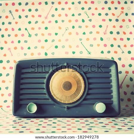 Blue Retro Radio - stock photo
