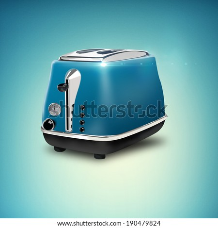 Blue retro toaster for making toast bread, stands on a blue background - stock photo