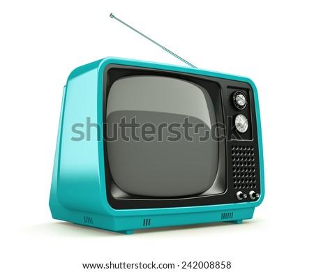 Blue retro TV isolated on white background  - stock photo