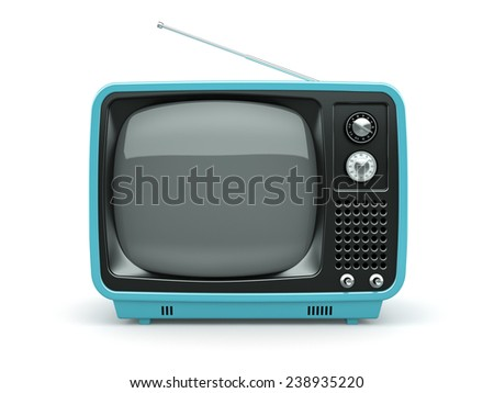 Blue retro TV on white background