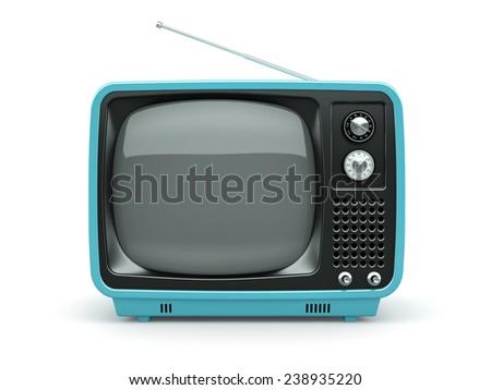 Blue retro TV on white background  - stock photo