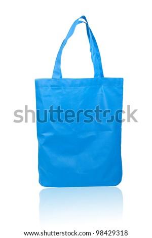 Blue reusable shopping bag - stock photo