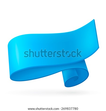 Blue ribbon. Abstract scroll paper vector background. Design element. Ribbon banner. Isolated on a white background. Raster copy. - stock photo