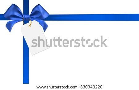 blue ribbon bow on white background - stock photo