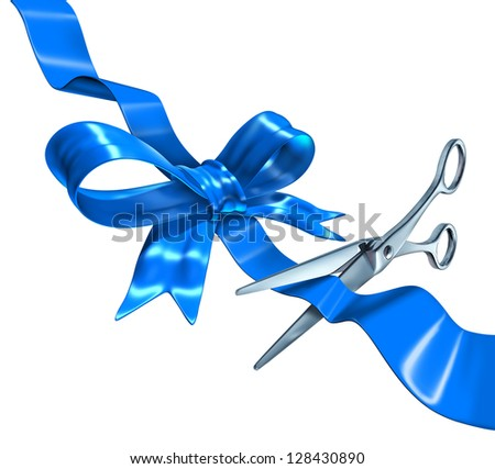 Blue ribbon cutting business concept with a three dimensional silk bow being cut by metal scissors as a symbol of launching and unveiling an important announcement or celebrating success. - stock photo