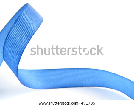 Blue ribbon isolated (great texture)