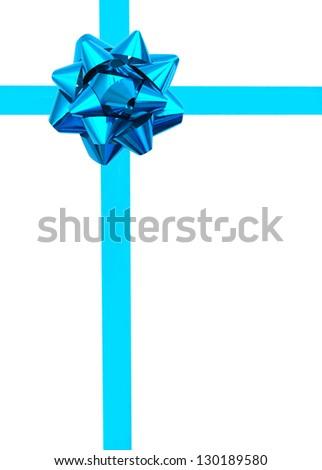 Blue ribbon over white paper - stock photo