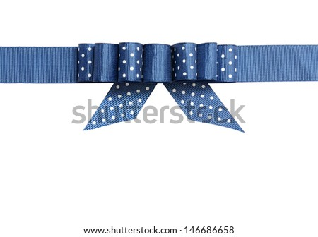 Blue ribbon with a bow isolated on white - stock photo