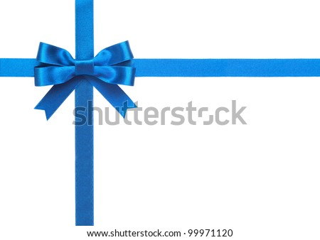 Blue ribbon with a bow on a white background - stock photo