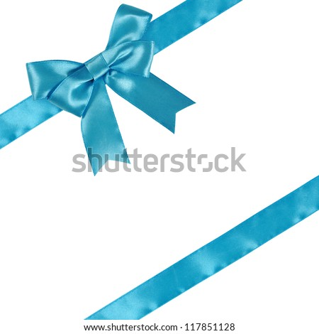 Blue ribbon with bow isolated on white background. Clipping path included. - stock photo