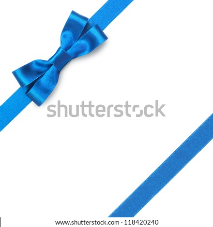 Blue Ribbons Background Blue Ribbon With Bow on a