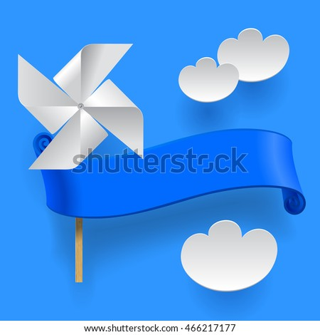 Blue ribbon with wind paper propeller and clouds. Summer sale sign and banner. Contains the Clipping Path