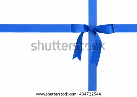 blue ribbons with bow with tails isolated on white
