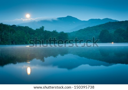 Blue Ridge Grandfather Mountain Price Lake Full Moon Set Reflection - stock photo