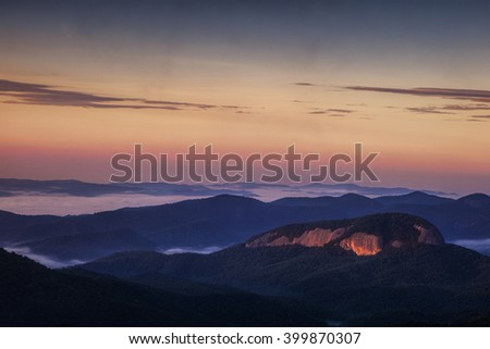 Blue Ridge Mountain's Looking Glass Rock at sunrise