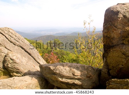blue ridge mountains in fall, with rock formations - stock photo