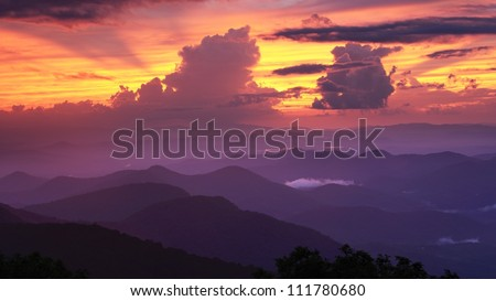 Blue Ridge Mountains viewed from Brasstown Bald in Georgia, USA. - stock photo