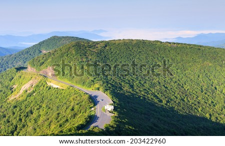Blue Ridge Parkway at Mile Post 364 as it winds along the Craggy Garden Visitor Center near Asheville in Western North Carolina. - stock photo