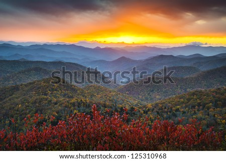 Blue Ridge Parkway Autumn Appalachian Mountains Sunset Western NC Scenic Landscape vacation destination - stock photo