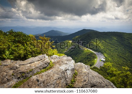 Blue Ridge Parkway Craggy Gardens Scenic Mountains Landscape Photography near Asheville NC in the Blue Ridge Mountains of Western North Carolina - stock photo