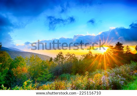 Blue Ridge Parkway late summer Appalachian Mountains Sunset Western NC Scenic Landscape vacation destination - stock photo