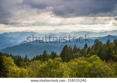 Blue Ridge Parkway NC Light Rays Scenic Landscape - stock photo