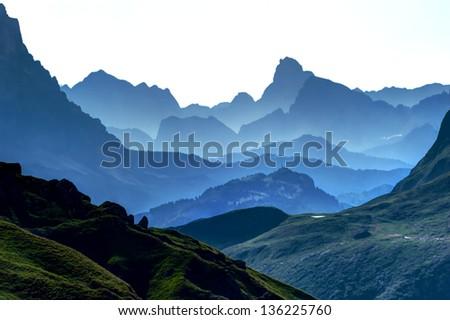 Blue Ridge Parkway Scenic Landscape Dolomites Mountains - stock photo