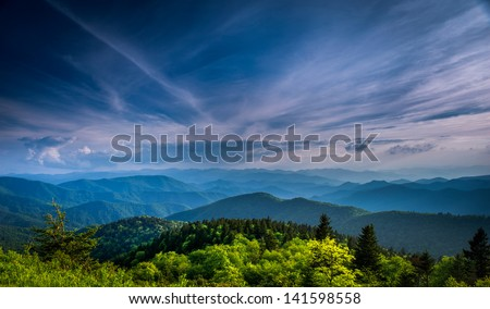 Blue Ridges of the Appalachian Mountains on the Blue Ridge Parkway near Asheville and Waynesville, North Carolina - stock photo