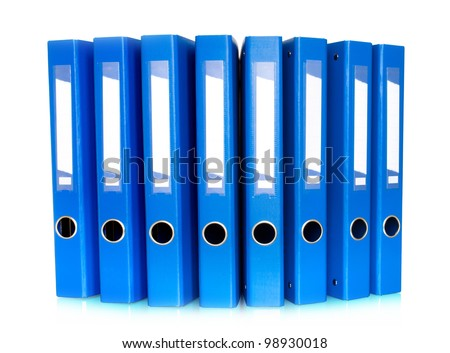 Blue Ring Binders in row isolated on white background