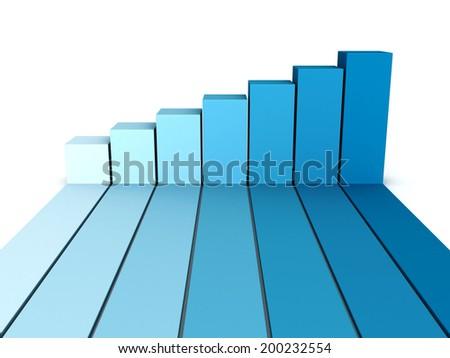 blue rising busines bar graph diagram. 3d render illustration - stock photo