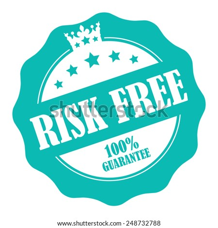Blue Risk Free 100% Guarantee Stamp, Badge, Icon, Label or Sticker Isolated on White Background  - stock photo