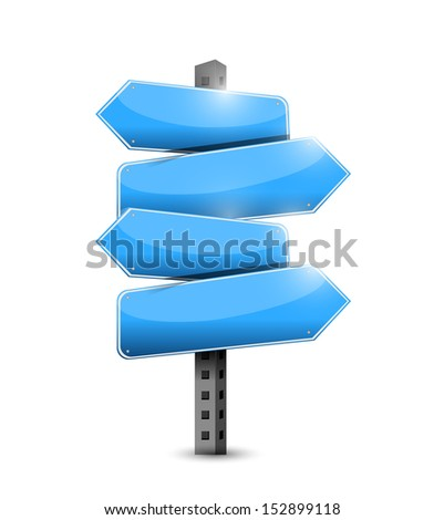 blue road signs illustration design over a white background - stock photo