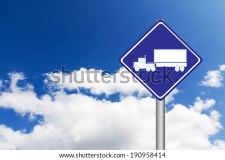 Blue road signs with Motor lorry sign icon on blue sky background - stock photo