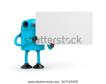 Blue robot holding a empty sign - stock photo