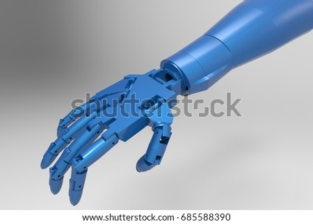 blue robotic hand 3d illustration isolated with white background