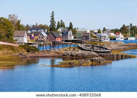 Blue Rock fishing village in Nova Scotia, Canada, near Lunenburg - stock photo